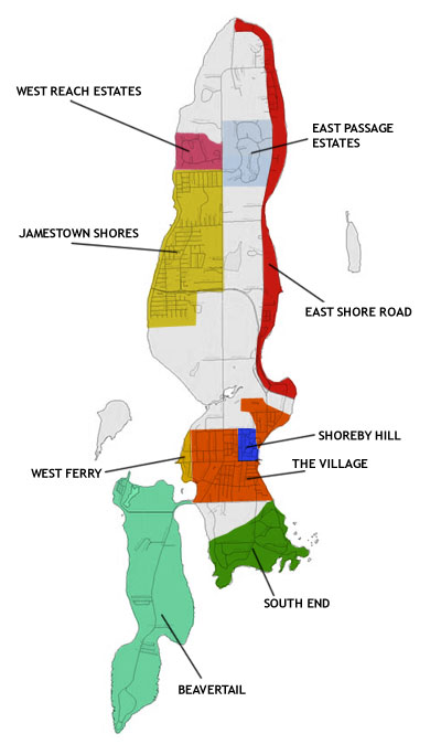 Jamestown, RI Map of neighborhood areas